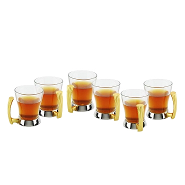 NG210 - Set of 6 - Coffee Tea Cups Two Tone Gold Silver Design Stainless Steel