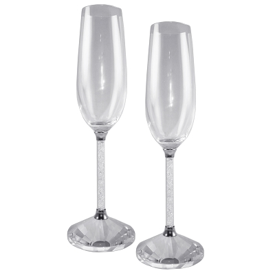 NC2CH - Set of 2 - Crystal Toasting Champagne Flutes with Crystal-Filled Stems