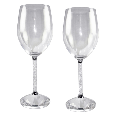 NC2WN - Set of 2 - Crystal Wine Goblets with Crystal-Filled Stems