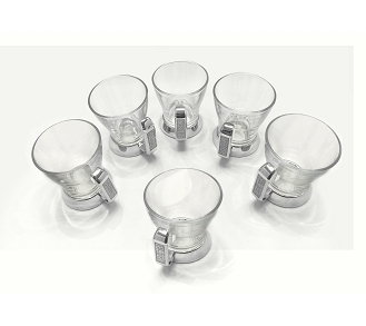 NC800 - Set of 6 - Tea Cups with Silver Glitter Design