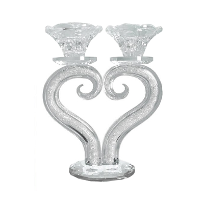 NC88 - Crystal-Filled Heart Shaped Candle Holder
