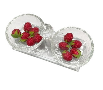 NCSN - Two Bowl Snack Server with Crystal-Filled Handle
